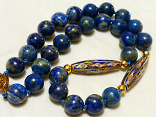 """CHINESE VINTAGE Cloisonne and BLUE LAPIS 12mm BEAD NECKLACE, 19"""""""