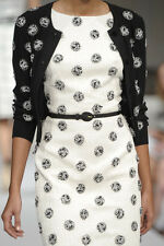 OSCAR DE LA RENTA 2011 WHITE AND BLACK DRESS WITH MATCHING CARDIGAN SIZE 2