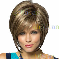 new pretty fashion short traight brown mix blonde hair wigs for women wig