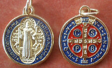 Saint St. Benedict Medal Gold tone with Red and Dark Blue Enamel + 3/4""
