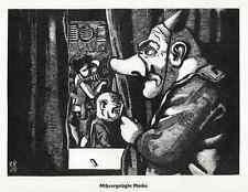MISSVERGNÜGTE MASKE - Karl RÖSSING - Holzschnitt 1929
