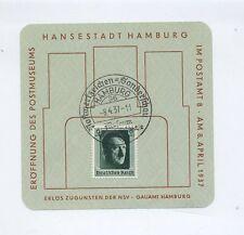 1937 3.Reich Sonderkarte / Gedenkblatt Eröffnung des Postmuseum Hamburg Mi 646