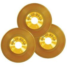 Rock and Roll Gold Plastic Vinyl Record  Pack of 3 - 50's Party Music Decoration