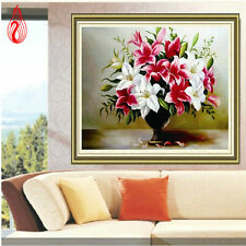 YGS-143 Round Diamond Painting Cross Stitch Kits Embroidery Lily Vase