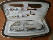 Vintage Manicure Set Grooming Nails Suede Case Nail File Comb Mirror White
