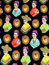Fabric FRIDA KAHLO FANTASTICO Folklorico Mexican Folk Art Black Henry 1/2 YD