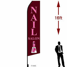 """16ft Outdoor Advertising Flag with Pole Set & Ground Stake. """"NAIL SALON"""""""
