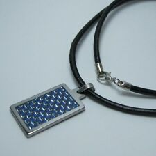 Women's Tungsten BLUE Carbon Fiber inlay Pendant w/ 3mm Blk Leather Necklace 20""