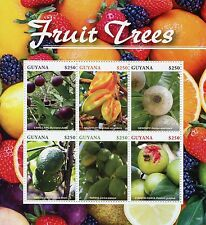 Guyana 2015 MNH Fruit Trees 6v M/S Fruits Camu Guava Papaya Genipapo Stamps