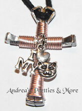 Disciple's Cross Horseshoe Nail Necklace - Wire Wrapped Cross - I LOVE MY CAT