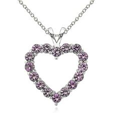 925 Sterling Silver 1.75 Ct Simulated Alaxandrite Open Heart Necklace