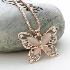 Lady's Rose Golden Butterfly Charm Pendant Long Chain Necklace Mothers Day Gift