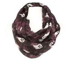 BOO Scary Ghost Halloween Soft Light Wide Loop Circle Infinity Scarf Wrap Black