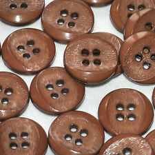lot de 5 boutons ronds plastique marron chaud 15mm button