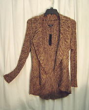 BROWN MARLED OPEN DRAPE FRONT KNIT CROCHET CARDIGAN JACKET SWEATER TOP~PL~L~M~NW