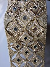 ATTRACTIVE INDIAN CUTWORK MIRRORS WITH PEARLS/CRYSTALS TRIM/LACE-sold By Meter