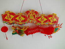 """24"""" CHINESE RED PVC COLOR DRAGON HANGING WEDDING BIRTHDAY SHOP RESTAURANT PARTY"""