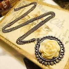 CARVED ROSE CABOCHON antique style NECKLACE vintage brass PENDANT flower cab