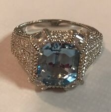 Judith Ripka Sterling Silver Blue Topaz & Diamonique Ring Size 9