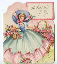 VINTAGE GORGEOUS VICTORIAN GIRL SOUTHERN GOWN DRESS GARDEN FLOWERS EASTER CARD