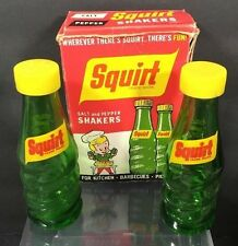 Squirt Soda Bottles Salt and Pepper Shakers Set New In Box Vtg Glass Mexico