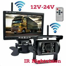 "7"" LCD Car Monitor Display +Backup Camera Wireless System For Truck Bus Van Kit"