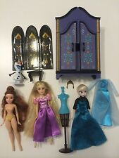 Disney store mini doll wardrobe lot Elsa Rapunzel Belle Frozen beauty