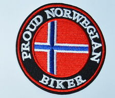 PROUND NORWAY NORWEGIAN Biker Punk Embroidery Iron on Patch  Clothes or Sew