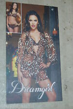 Womens Lingerie SHEER BROWN LEOPARD ROBE, LACE BRA, THONG PANTY Dreamgirl M 8-10
