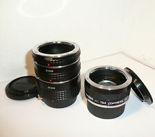OLYMPUS OM10 OM2 ACCESSORY SET, SET of 3 EXTENSION TUBES & 2X TELECONVERTER