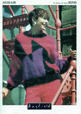 ~ Knitting Pattern For Lady's Colourblock Mohair Sweater ~