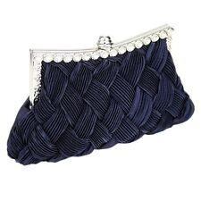 Navy Blue Satin Clutch Bag Crystal Wedding Prom Party Evening Ladies Handbag New