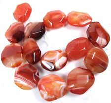 27-30mm Carnelian BOTSWANA Agate Faceted Freeform Nugget bead 16""