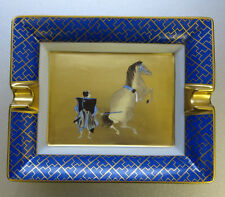Hermès Aschenbecher Limoges Porzellan blau gold Samurai Pferd ashtray leather