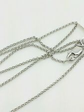 """14k White Gold Round Rolo Link Necklace Pendant Chain 20"""" 1.1mm"""