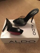 NEW STUNNING ALDO BLACK PATENT SHOES HEELS SEXY SHOES PINK BEDROOM 5 INCH SZ 4