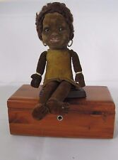 RARE Antique Black African Cloth doll with glass eyes tag: Norah Wellings