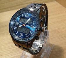 Mens Black Steel Blue Face Military Style Combi Ana/Digi Chrono Sports Watch NEW