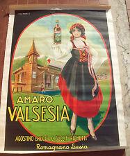 1930 MANIFESTO ILLUSTRATO ORIGINALE 'AMARO VALSESIA' DI ROMAGNANO SESIA. RARO