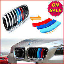Fits BMW 5 Series F10 F11 2011-2013 Kidney Grille M Tech 3 Colour Cover Stripes