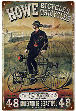 Howe Bicycles Tricycles Advertisement Reproduction  Sign
