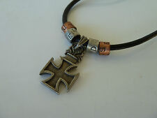 2x Mens-Womens Skull/Biker/Gothic necklace, Leather and Metal, Free Postage, NWT