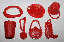 Vintage Marx Johnny West / Best of the West Red Accessories Weapon Part Lot