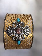 Antique paste and faux turquoise reseting at 925 silver gilt open bangle