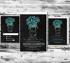 100 Personalized Rustic Floral Mason Jar Wedding Invitation Set with Envelopes