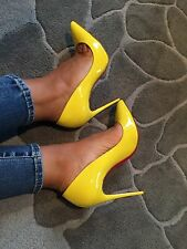 Nib Christian Louboutin Pigalle Follies Pump Stiletto Sun Patent Yellow Sz 36.5