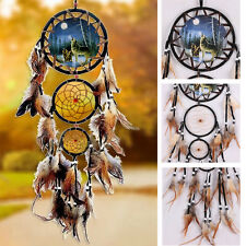 Dream Catcher With Feathers Fantasy Wall Art Hanging Decoration Ornament-Wolf WT