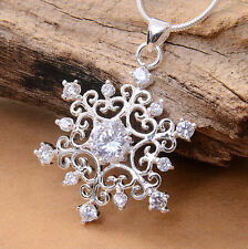 925 Silver Hollowing Tacery Snowflake Gemstone Necklace Pendant Smart