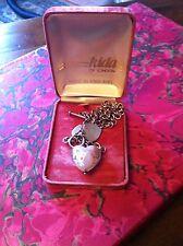 Heavy Solid Silver T Bar 925 Hallmark Venetian Pink Foil Glass Heart VELVET BOX