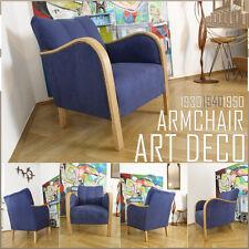 Blue cinema vintage ART DECO à MID CENTURY MODERN ARMCHAIR fauteuil Bauhaus affirmés